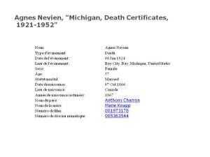 Agnes Nevien décès